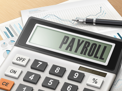 calculator with the word payroll